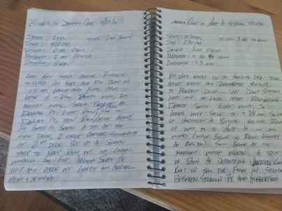 SWEET PEA's old logbook