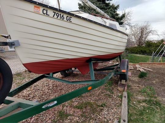 On trailer with fresh antifouling paint.